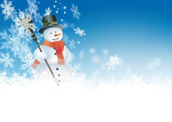 Schneemann, blauer Himmel, Azurblau, Winter, Schneeflocken, Eis