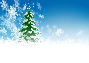 Winter, verschneit, Tannenbaum, Frost, Azurblau, Weihnachten