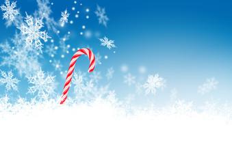 Zuckerstange, Schneehaufen, Eisblumen, blauer Himmel