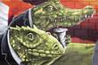 Arte urbano. Graffiti de reptiles en una pared