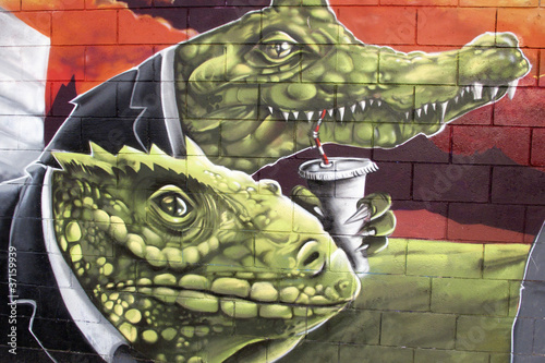 Sticker Arte urbano. Graffiti de reptiles en una pared