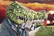 Arte urbano. Graffiti de un cocodrilo en una pared