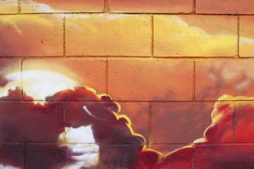 Arte urbano. Graffiti de una puesta de sol