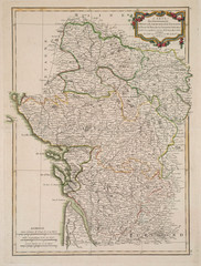 antique colored map of France region.