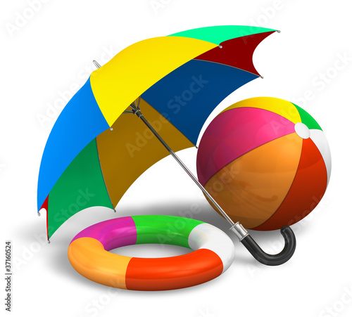 Beach items: color umbrella, ball and lifesaver belt