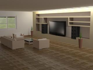 Salón en 3D con parquet