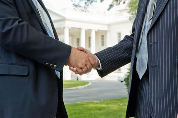 Political handshake at the White House