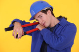 junior craftsman against yellow background