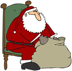 Santa Looking In His Gift Bag