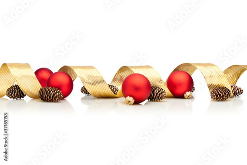 Christmas decoration with golden ribbon cones red glass balls