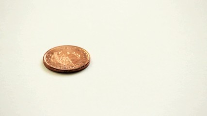 A spinning british coin