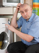 Man with washing machine