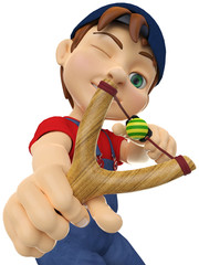 boy pointing with a slingshot