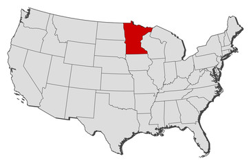 Map of the United States, Minnesota highlighted