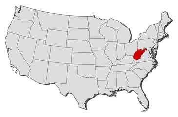 Map of the United States, West Virginia highlighted