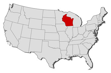 Map of the United States, Wisconsin highlighted