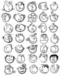 People face cartoon vector icon