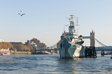 HMS Belfast warship at London, England