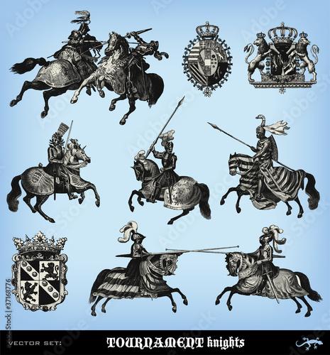 Engraving vintage knights tournament set.