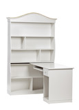 White wooden workstation (desk and bookcase), with clipping path poster