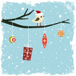 Winter card with bird, gift box and glass balls