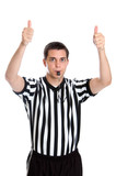 Teen basketball referee giving sign for jump ball