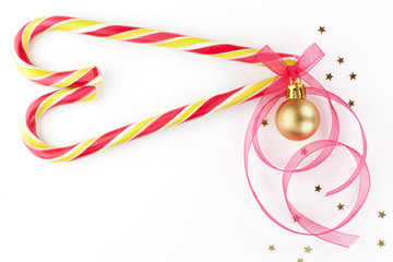 Candy cane christmas background with copy space.