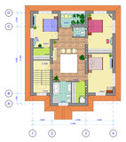 Multicolored Plan of 2 floor of house