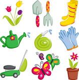 Fototapety Spring gardening icons