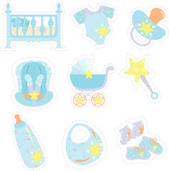 Baby boy items icons