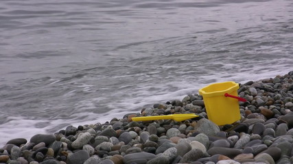Baby toys on seaside