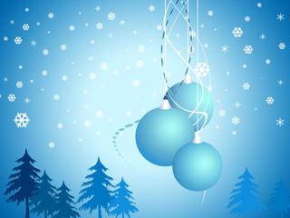 Cartoon  Christmas bell on snow blue background