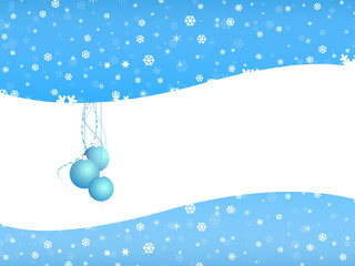 Cartoon  Christmas bell on snow background with white space