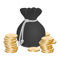 Sack with money on pile of golden coins
