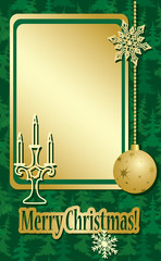 vector golden and green christmas frame  with decorations