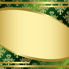 vector green vintage background with gold decor