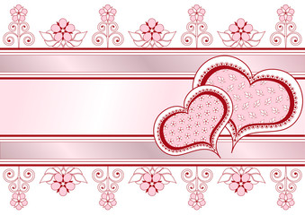 Valentine postcard with ribbons, pattern and flowers_frame