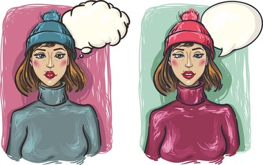 дВЕ девушки. Грустные и задумчивые девушки в шапке и свитере