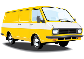 Vector isolated delivery van without gradients.