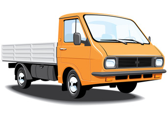 Vector isolated small truck without gradients.