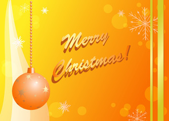 yellow and orange christmas card  - vector