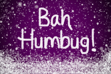 Bah Humbug Christmas Message on Purple Snow Background