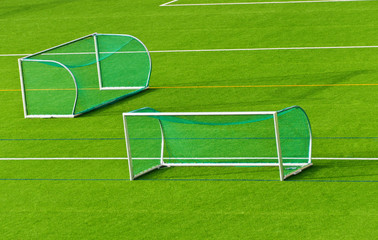 Football goals on football field