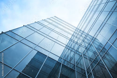 transparent glass wall of office building - 37177506