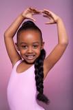 Fototapety Cute little African American girl dancing