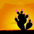 cactus black with pink flower vector illustration