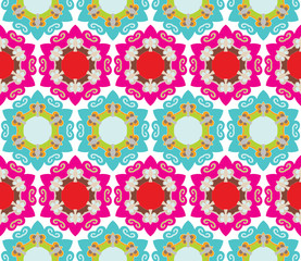 Seamless baroque pattern with stars and flowers in bright colors