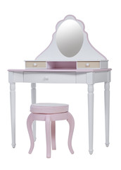 Elegant pink dressing table and stool, with clipping path