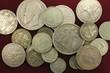 Silver antique coins close-up