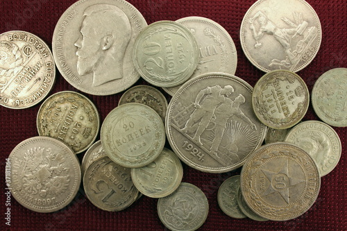Silver antique coins close-up